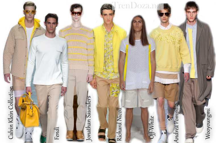 Акценты желтого в мужской весенне-летней моде 2015 года