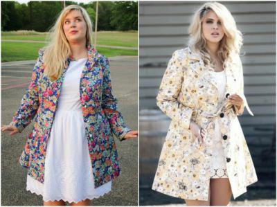Пальто с цветочным принтом для полных