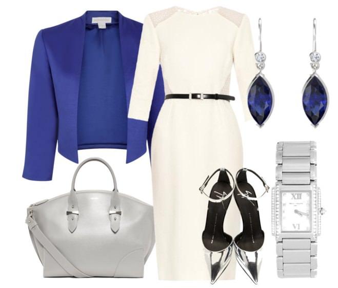 Белое платье с синим жакетом и серой сумкой