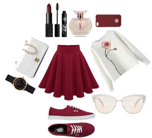 Выбор аксессуаров для красной юбки