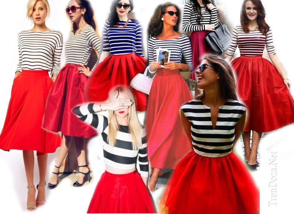 Красная юбка с чем носить?