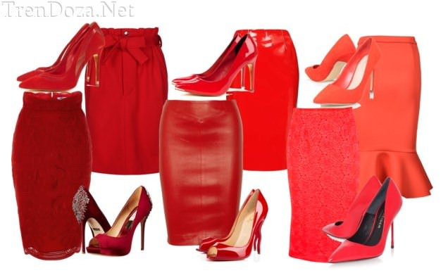 Как подобрать обувь к юбке красного цвета?