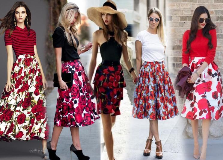 С чем носить юбку с цветочным принтом с красными цветами?