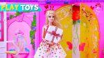 Barbie Doll Morning Routine Dress Up Pink Bedroom — Dolls Birthday Party w/ Presents by Play Toys!