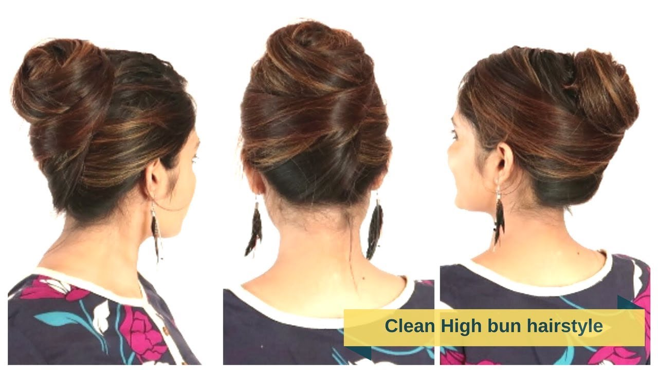 Elegant&Clean High Bun Hairstyle For Medium/Long Hair | Quick&Easy Hair Updo | Komal's Hairstle