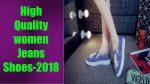 Обувь джинсы высокое качество женские квартиры мода Повседневная обувь джинсовые