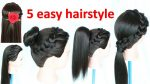 5 easy hairstyle    juda hairstyle    ponytail    hairstyle    french braid   hairstyles    hair bun