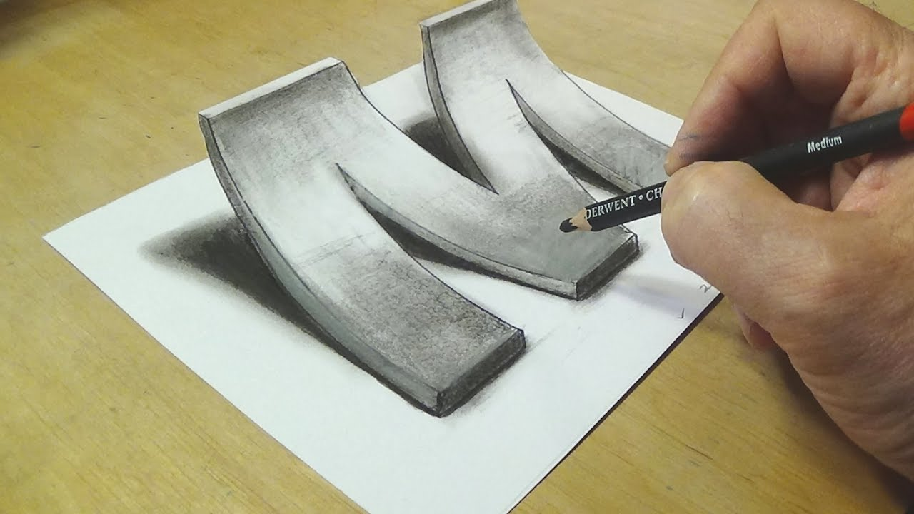 How to Draw 3D Letter M — Drawing with pencil — By Vamos