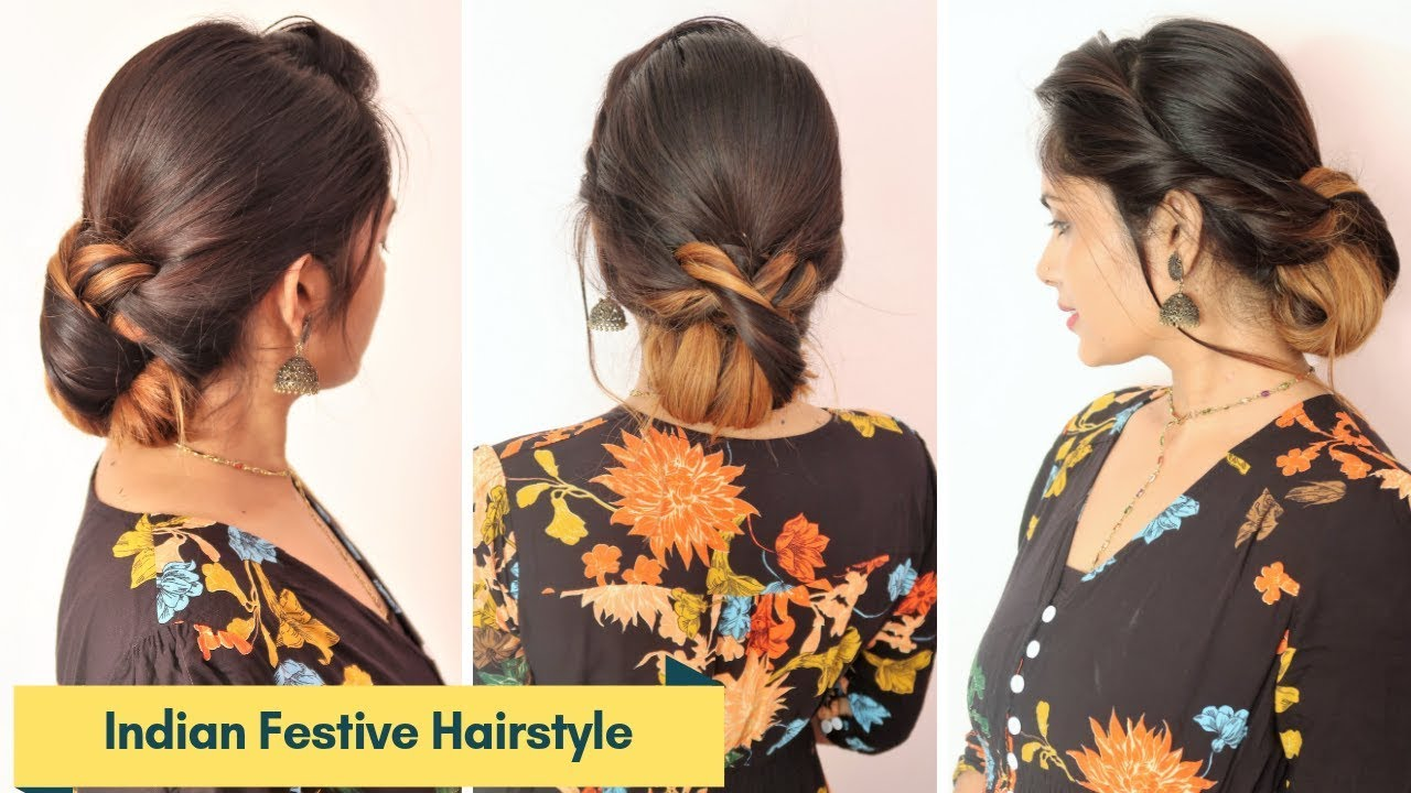 Indian Festive Hairstyle For Medium To Long Hair/Hairstyle For Diwali/Wedding/Party/