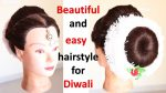 easy juda hairstyle with puff for diwali || braided hairstyles || hair style girl | simple hairstyle