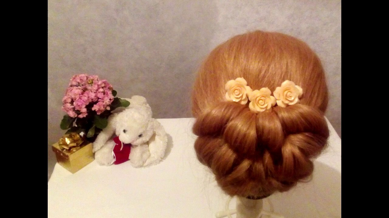 Прическа на резинках. Pricheska na rezinkah. Hairstyle with elastic bands