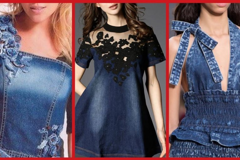 Gorgeous and Beautiful Jeans Dresses Styles for Girls 2019