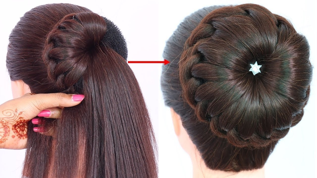 New bun hairstyle for wedding/party/function | trending hairstyle | party hairstyle | updo hairstyle