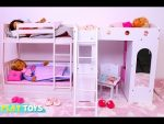 Baby Doll Bunk Bed Bedroom House Toy!  Play Doll Dress up!