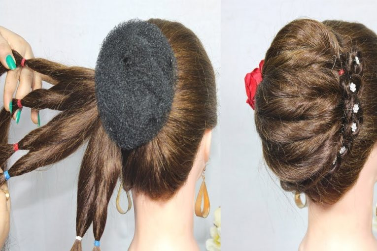 New French Bun Hairstyle || French Roll Hairstyle With donut bun || Braid Hairstyles 2019