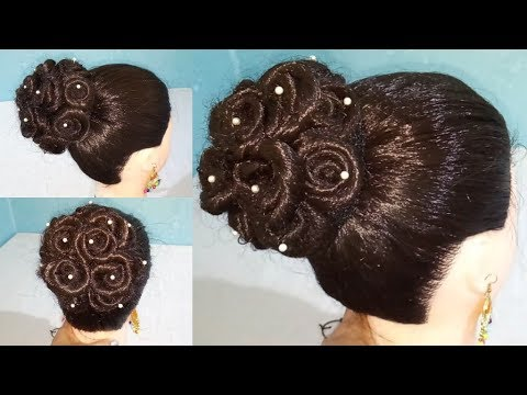 Most Beautiful Trending Rose Bun Hairstyle for Wedding or party | Easy Hairstyles | Bun Hairstyle