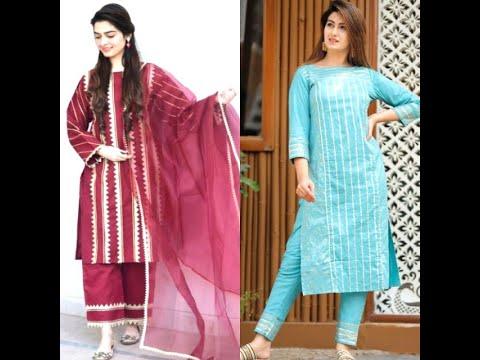 Long kurti with pant plazo/Latest plain suit lace design/Beautiful long kurtis with pant/plazo