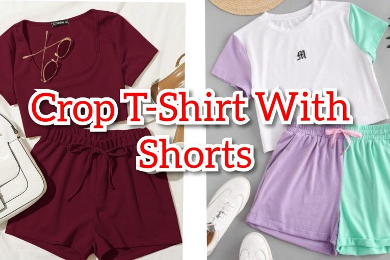 Crop T Shirt With Shorts | Full Outfit Ideas | Girls Crop T Shirt | Shorts Design | T Shirt & Shorts