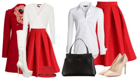 Как сочетать красную юбку с белой рубашкой?