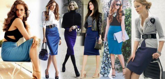 Синяя юбка карандаш - с чем носить?